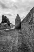 The outer walls of the medieval double walled town of Carcassonne, France.  While there may be many other tourists, it is well worth visiting as one can get a great insight into how life would have been in the middle ages.