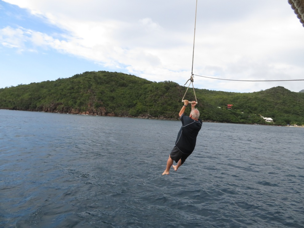 Rope swing from ship