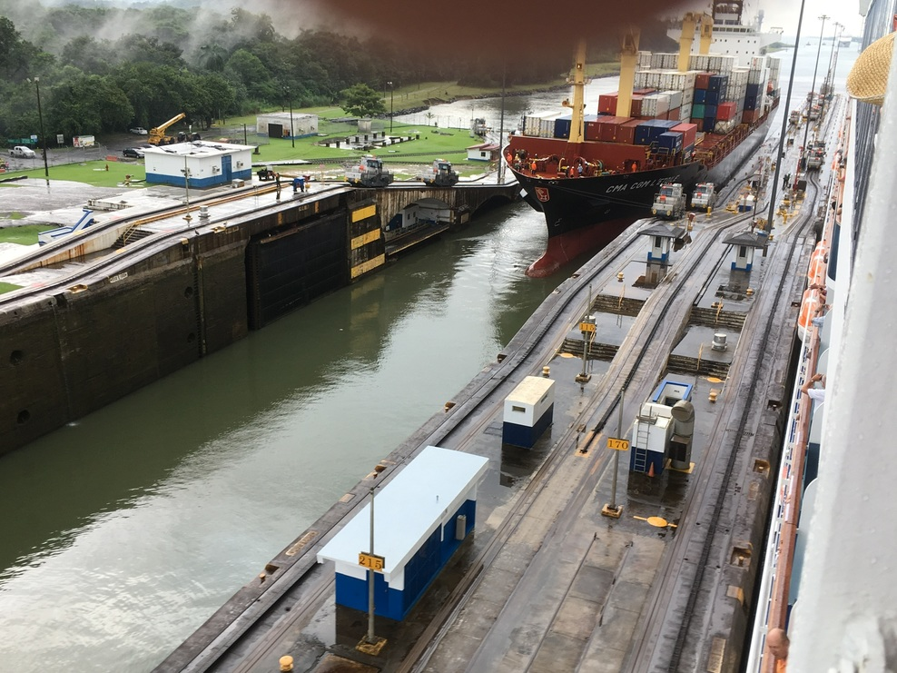 Container ship crossing the first lock