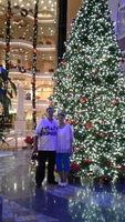 Taking a picture on the Promenade in front of that giant beautiful  christmas tree.