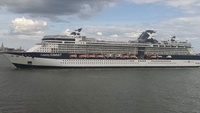 Passing the Celebrity Summit on the Hudson River near the Statue of Liberty.