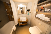 bathroom with tub and shower in tub