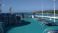 Upper deck docked at Barbados, waiting for clearance to disembark and buy some souvenirs.