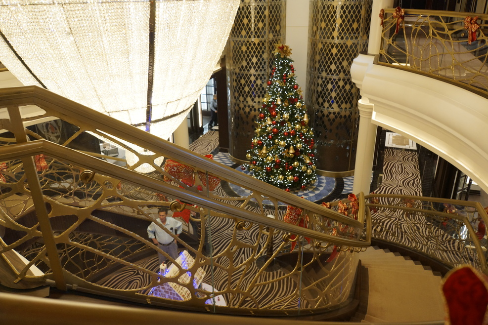 Looking down at Xmas tree on deck 4