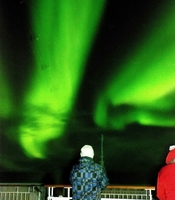 Watching the Northern Lights  from the forest deck