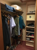 The very generous hanging space and cupboard including the safe. Note: the