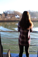 My daughter on the balcony while sailing on the Danube.