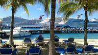 In Cozumel!  We laid out on these loungers, and enjoyed the beautiful view.