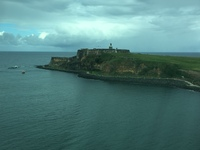 The fort in San Juan as the ship is leaving.