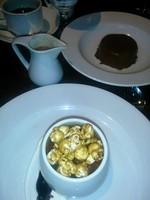 Dessert selections: Chocolate pannecota and popcorn flan