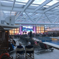 Entertainment at the main pool, showing the retractable roof.