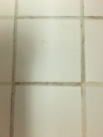dirty grout in bathroom floor