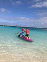 Paddle boarding on coco cay