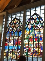 Stained glass windows in church in Rouen