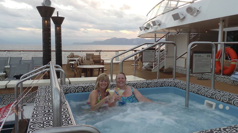 Lemon drops in the hot tub as we watched the sunset departing Crete.