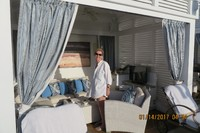 Jan in our cabana in The Sanctuary on Island Princess. Early in the day we