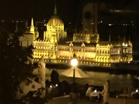 Our view from our hotel room window of the majestic Parliment Building in Budapest at night!