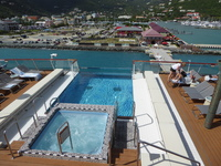 View from deck of Viking Star infinity pool