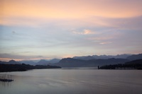Sunrise over Lake Lucerne, taken from our hotel room window, during our pos