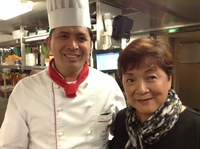 Executive Chef Roderick Serrano of the Viking Ve and Cynthia Pratt.