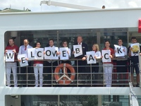 The fantastic crew welcoming us back to the ship after an excursion!