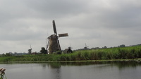 Our view pulling into Kinderdijk where we would visit historic windmills.