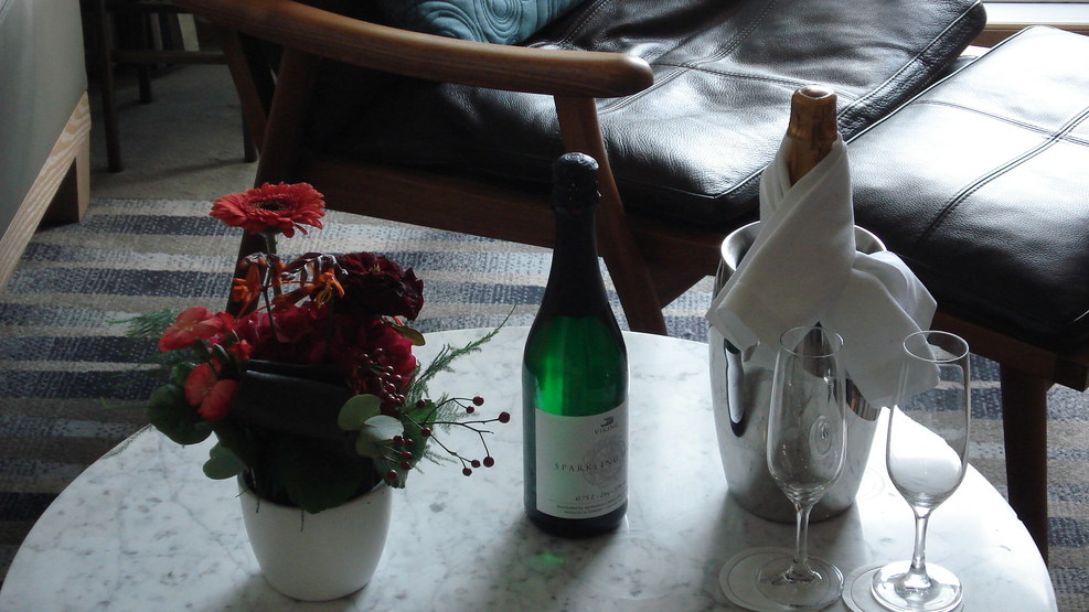 Our welcome Champagne in the cabin.