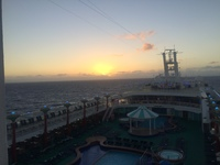 View of the sunrise out of our stateroom