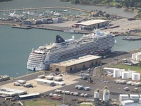 Ship docked at Kawai viewed from helicopter ride.