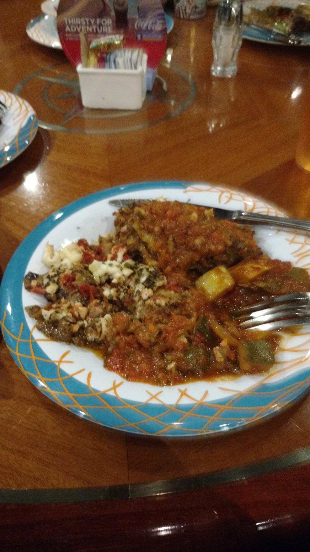 Windjammer Lasagna. Undercooked eggplant parmesan with unmelted cheese.