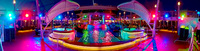 Panoramic of the pool at night.
