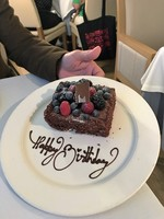 My husband's birthday cake, celebrated in The Restaurant.