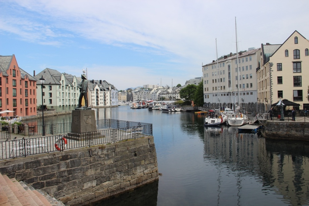 Beautiful port city of Alesund.