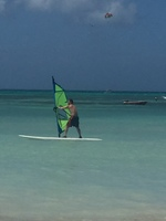 Wind-surfing/sailing on Aruba.