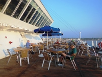 A tranquil breakfast on deck...