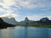 Approaching the beautiful island of Moorea in French Polynesia.