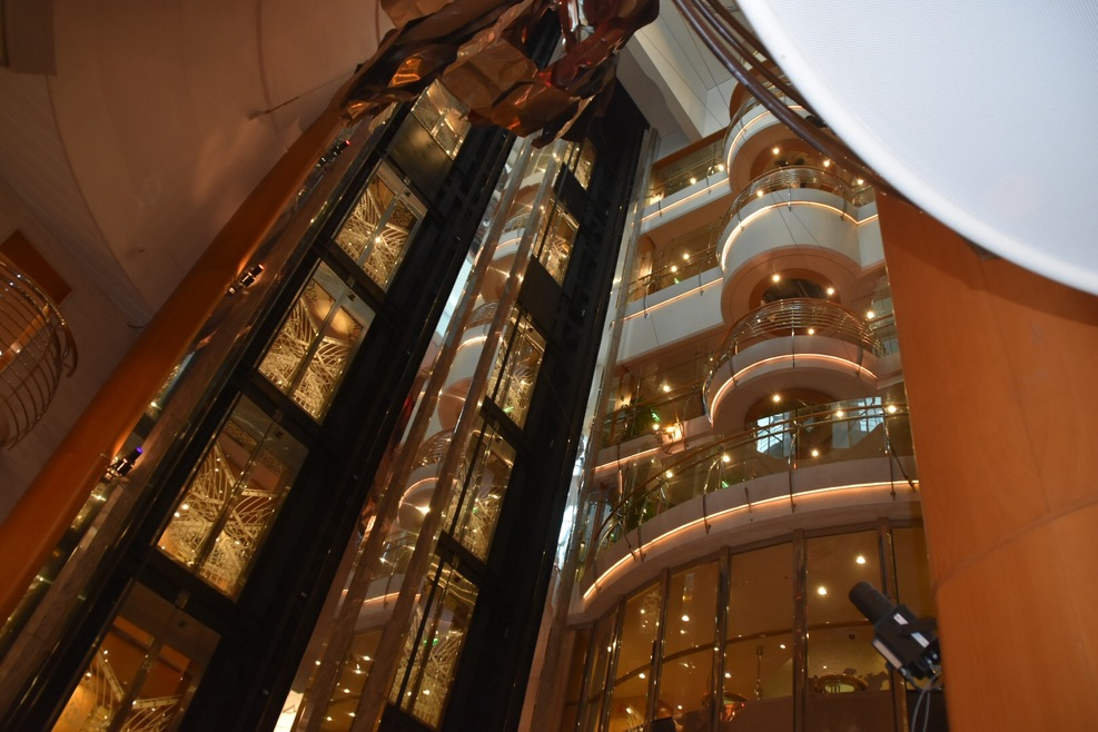 View of the internal glass lifts