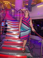 My wife on one of the feature stairways