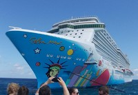 Norwegian Breakaway from the NCL private island - Great Stirrup Cay.