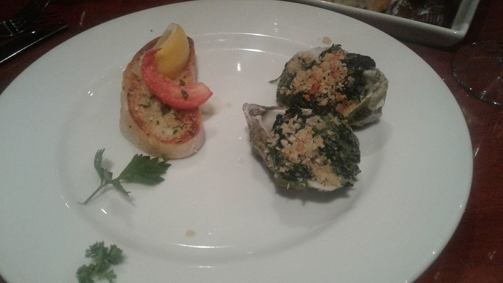 Oysters Rockefeller in the main dining room, delicious!
