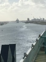 Departing Port Canaveral.  Carnival Sunshine following us out.