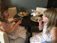 Enjoying afternoon treats in our Haven suite on the Breakaway