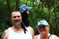 Gambalimba Preservation Park. Monkey stole his hat and had to try it on. Wh