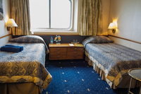 Our cabin aboard the Celestyal Crystal.