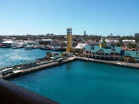 View from our cabin to debarkation point in Nassau. A walk the equivalent o