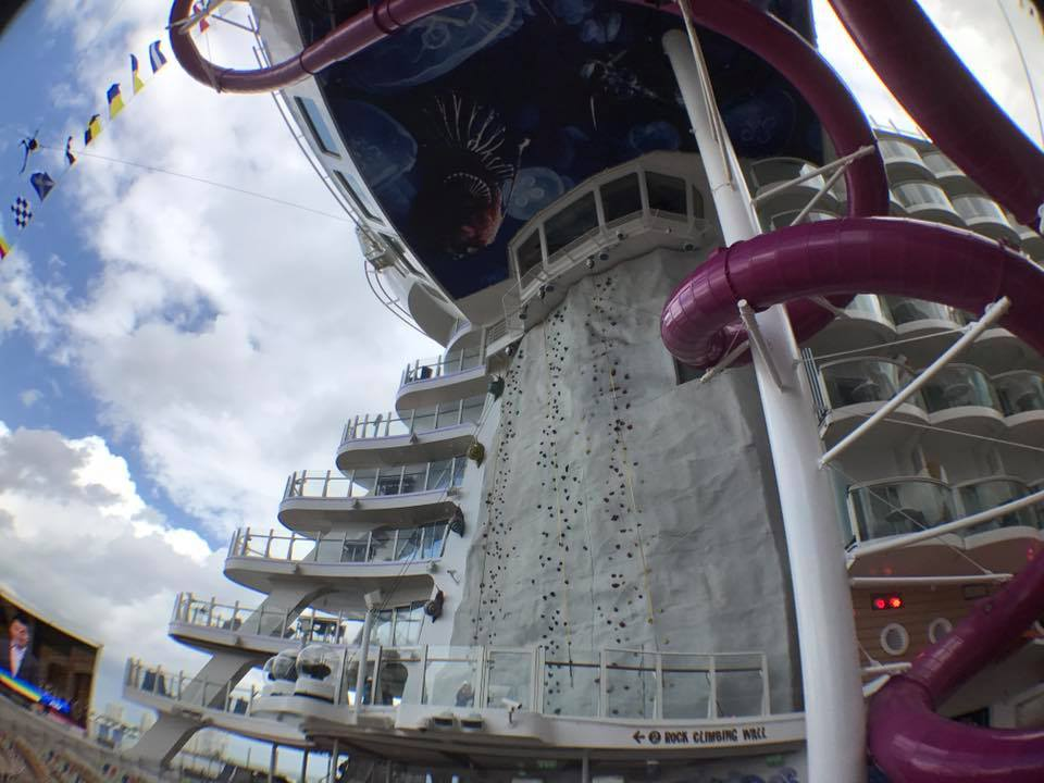 Rock Climbing wall on the back of the Harmony of the Seas