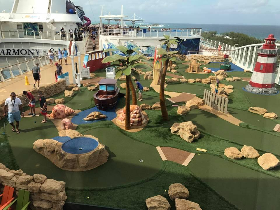 Mini Golf on the back of the ship of Harmony of the Seas