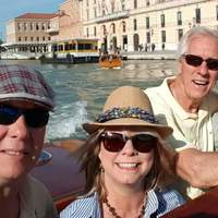 Venice water taxi was once-in-a-lifetime experience. Me, my husband, Kris,