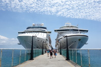 Celebrity Eclipse and Crown Princess side by side at St Kitts