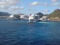 As we were leaving St. Martin, there were 5 Ships in dock that day.  HUGE S